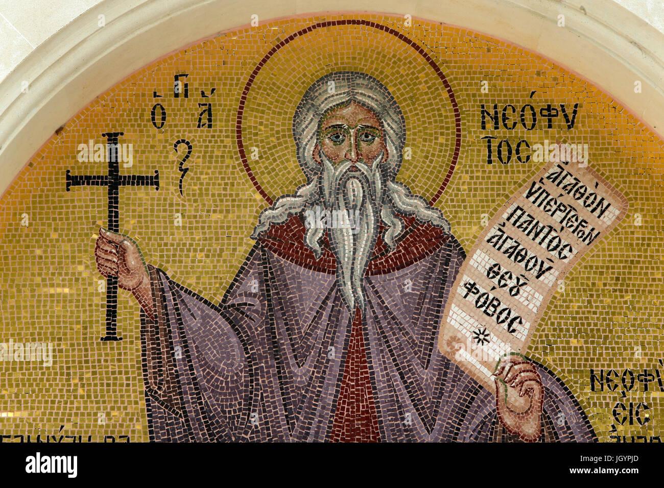 Troodithissa monastery mosaic. Saint Neophyte. Cyprus. - Stock Image