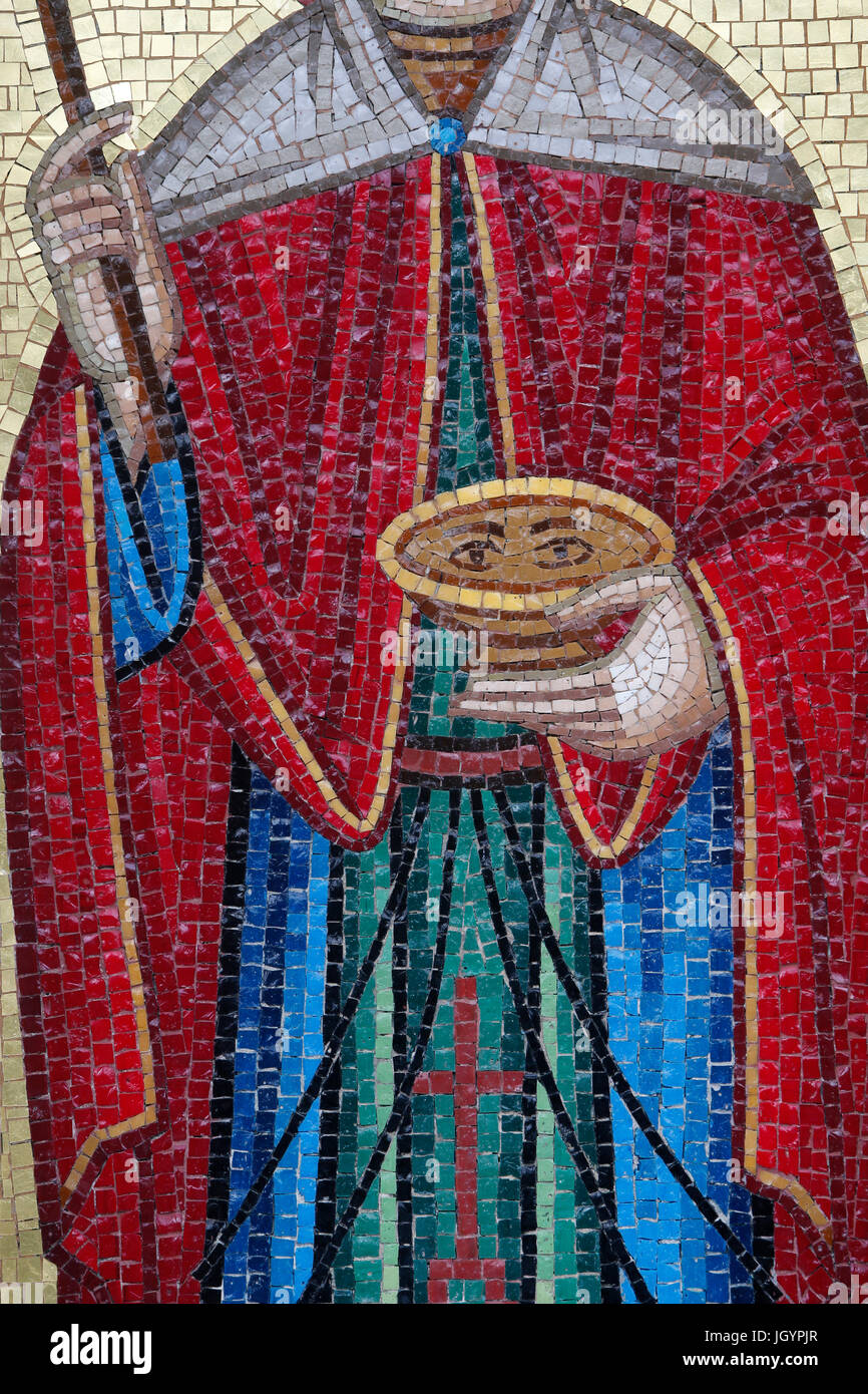 Detail of an orthodox mosaic in a Troodos village. Sta Paraskevi holding a chalice. Cyprus. - Stock Image