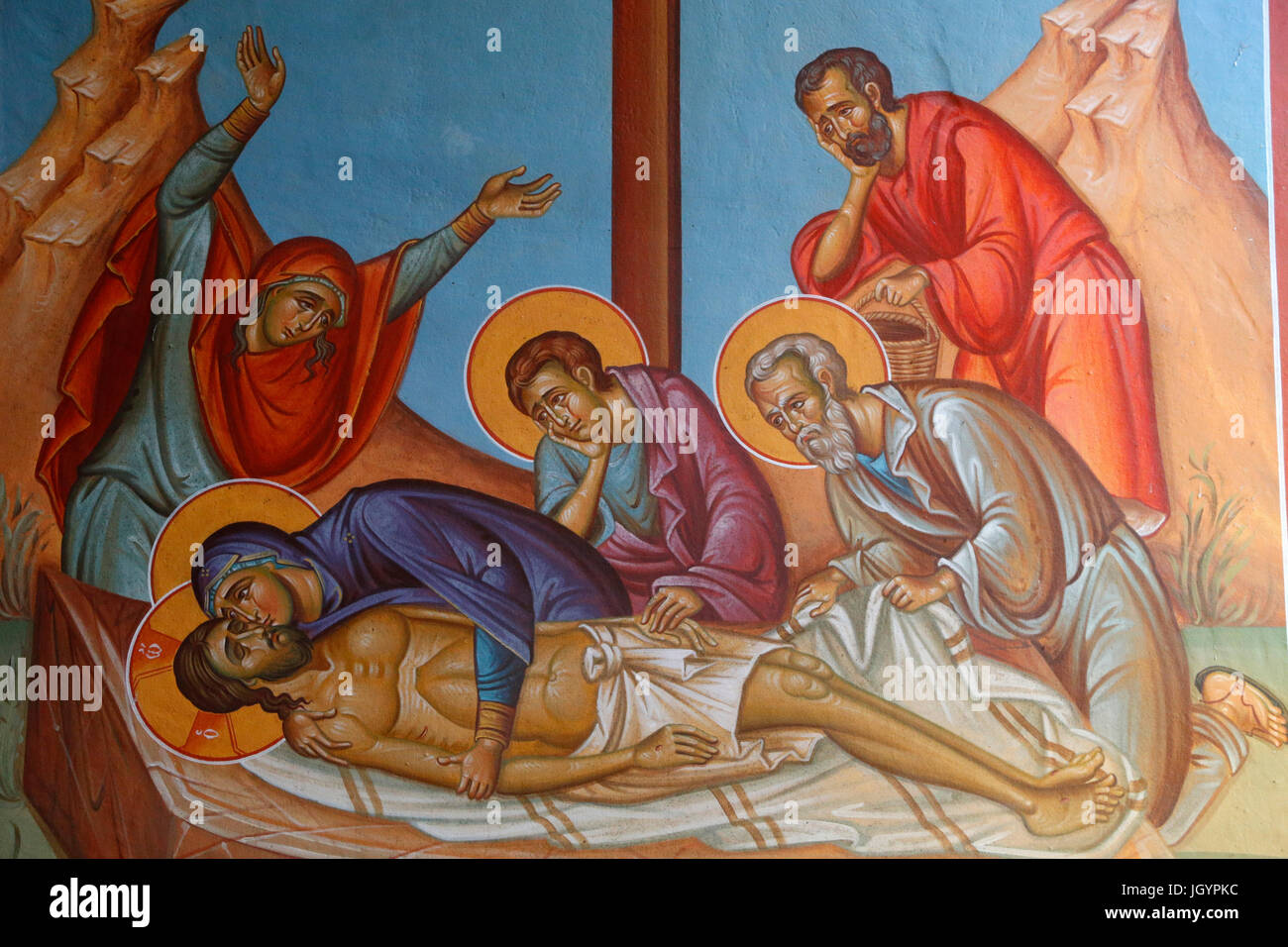 Fresco in Holy cross church, Pedoulas. Jesus Christ's entombment. Cyprus. - Stock Image