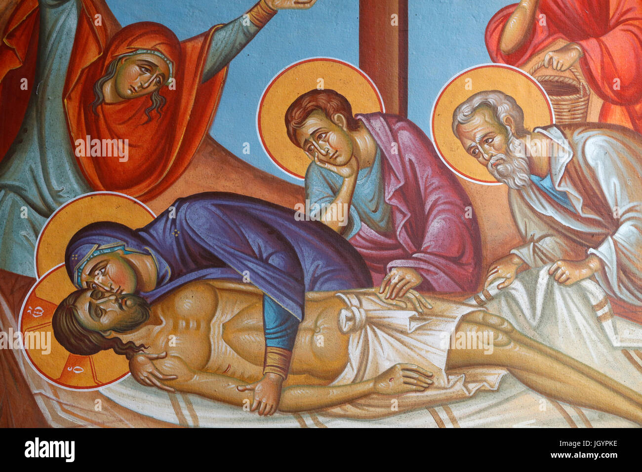 Fresco in Holy cross church, Pedoulas. Jesus Christ's entombment. Cyprus. Stock Photo
