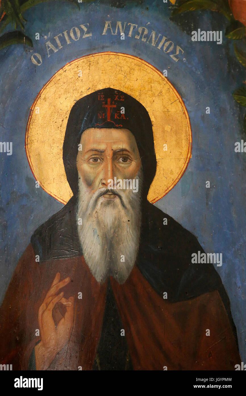 St. Anthony icon. Nicosia. Cyprus. - Stock Image