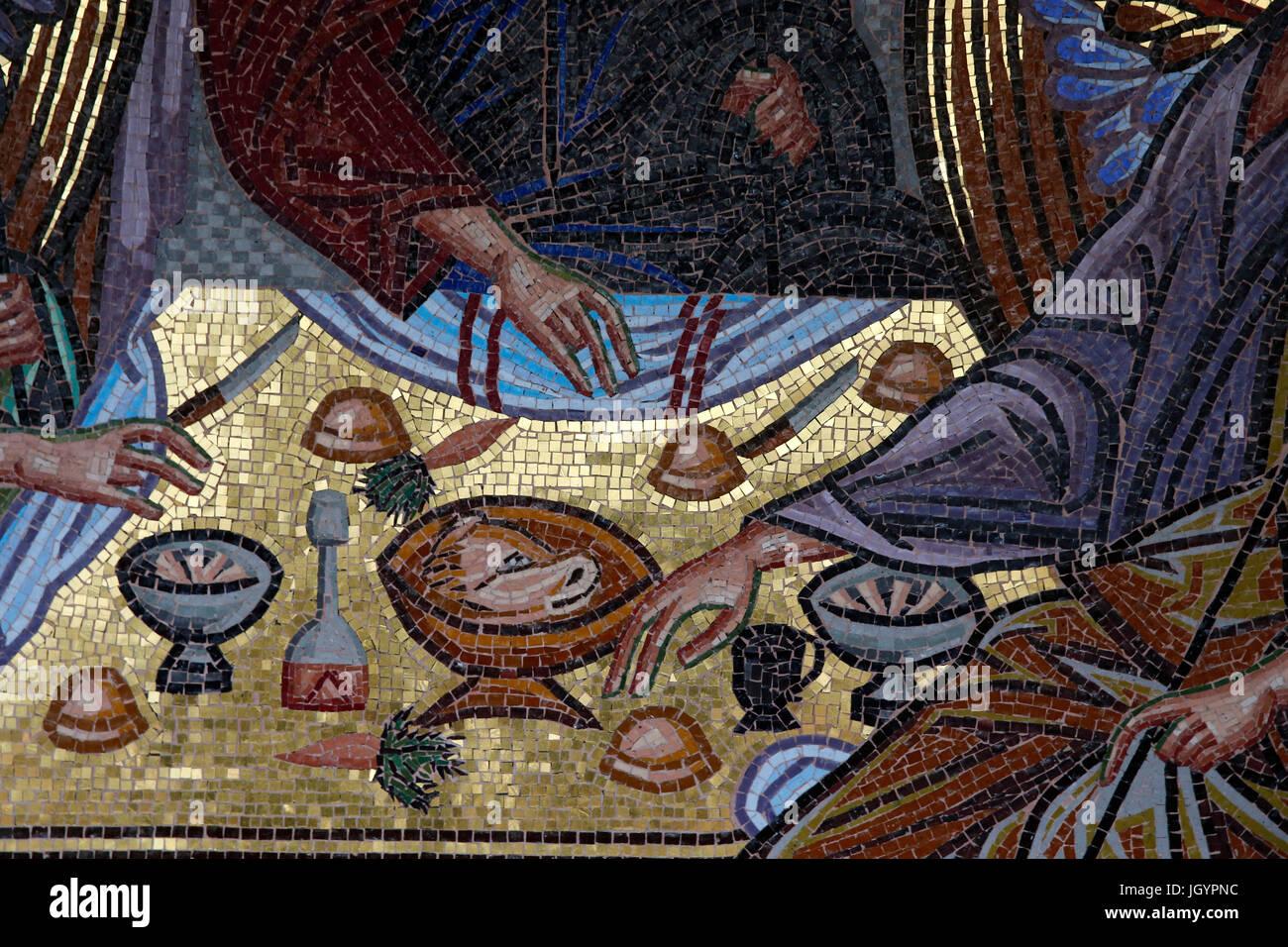 Kykkos monastery, Cyprus. 'Old Testament Trinity' mosaic detail. - Stock Image