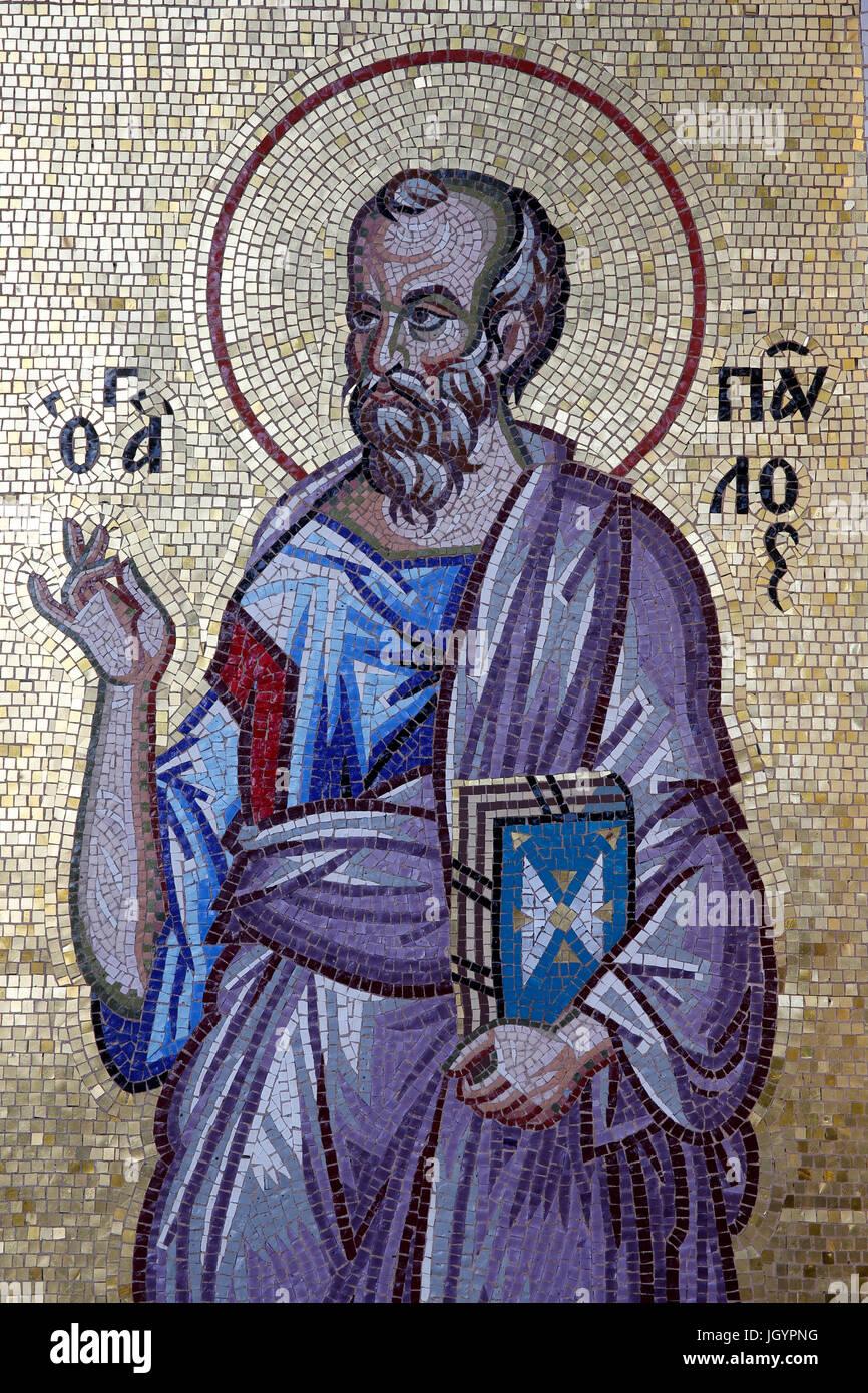 Kykkos monastery, Cyprus. St Paul mosaic. - Stock Image