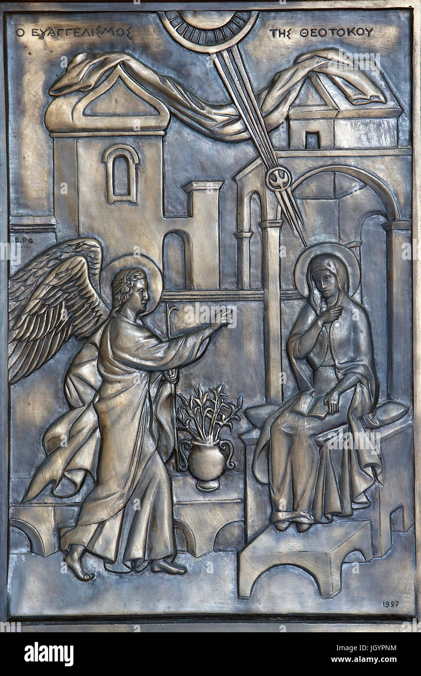 Kykkos monastery, Cyprus. Relief carving. The Annunciation. - Stock Image