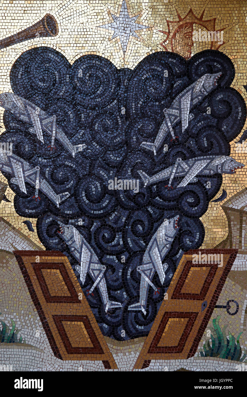 Kykkos monastery, Cyprus. Detail of a mosaic depicting the apocalypse. - Stock Image