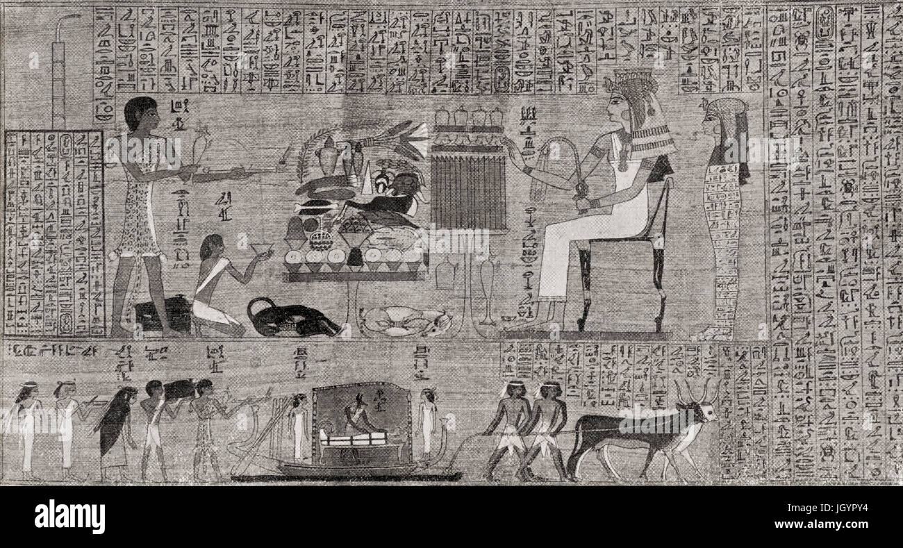 A portion of The Book of the Dead.  An ancient Egyptian funerary text, based on the Papyrus of Ani, a papyrus manuscript - Stock Image