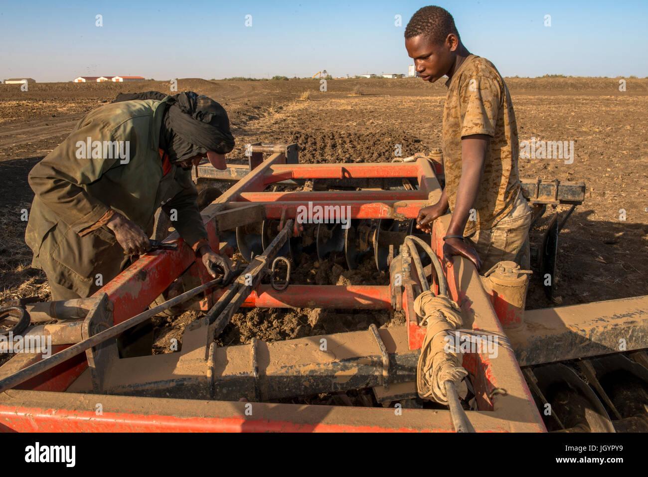 Mechanic repairing farming equipment. Senegal. Stock Photo