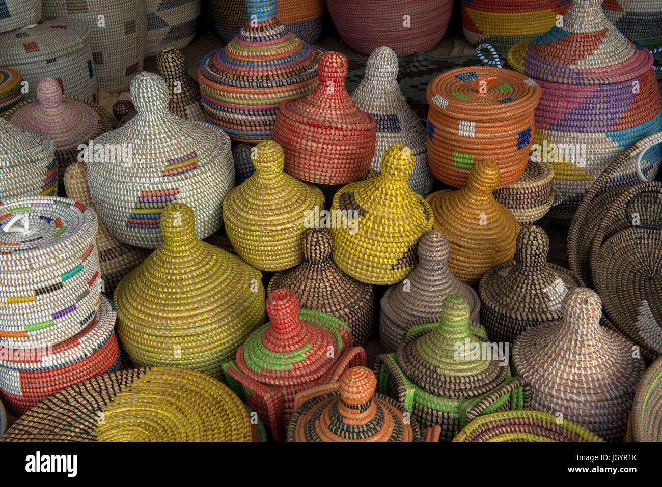 Handmade basket shop. Senegal. - Stock Image