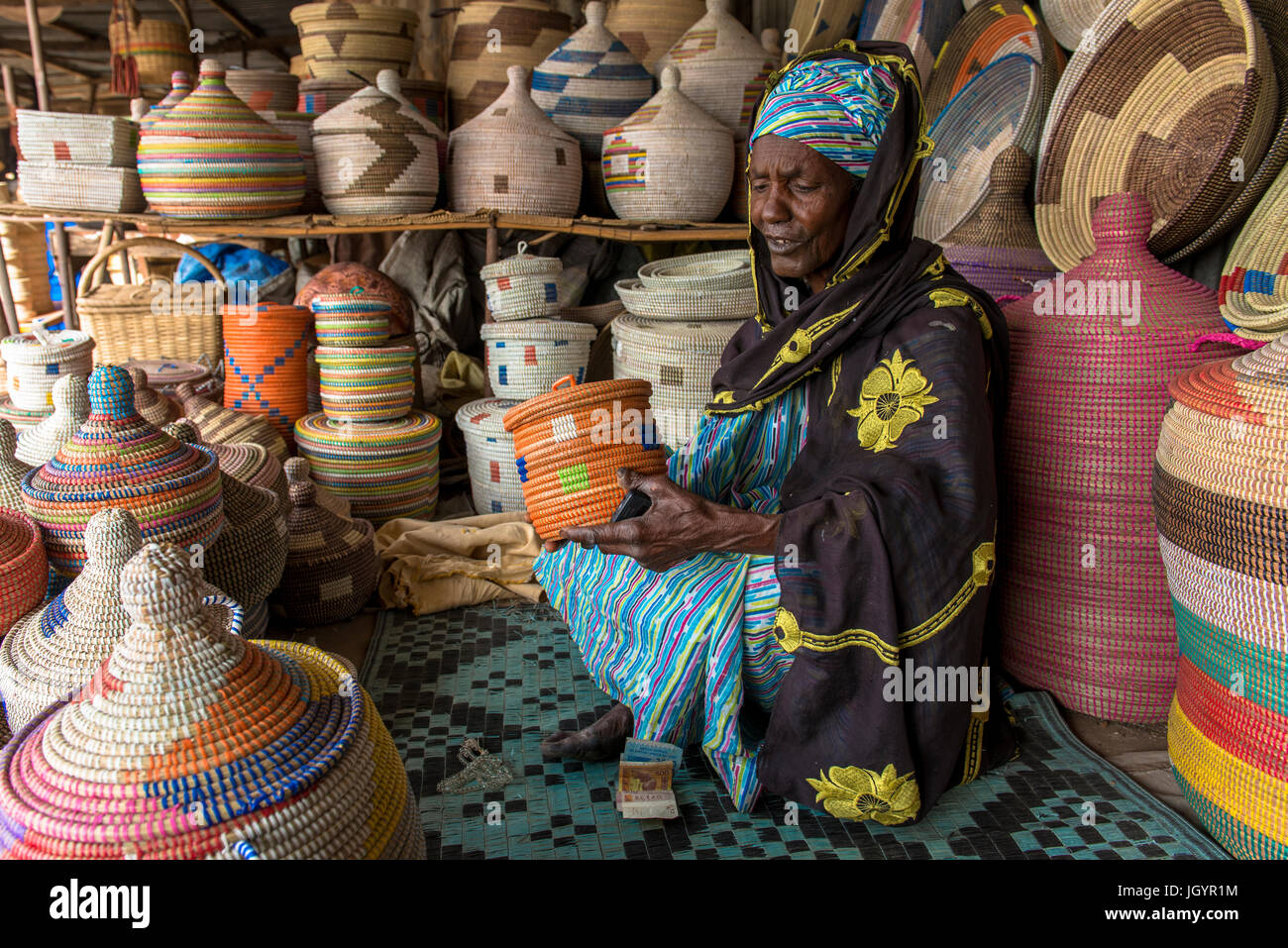 Handmade basket shop. Senegal. Stock Photo