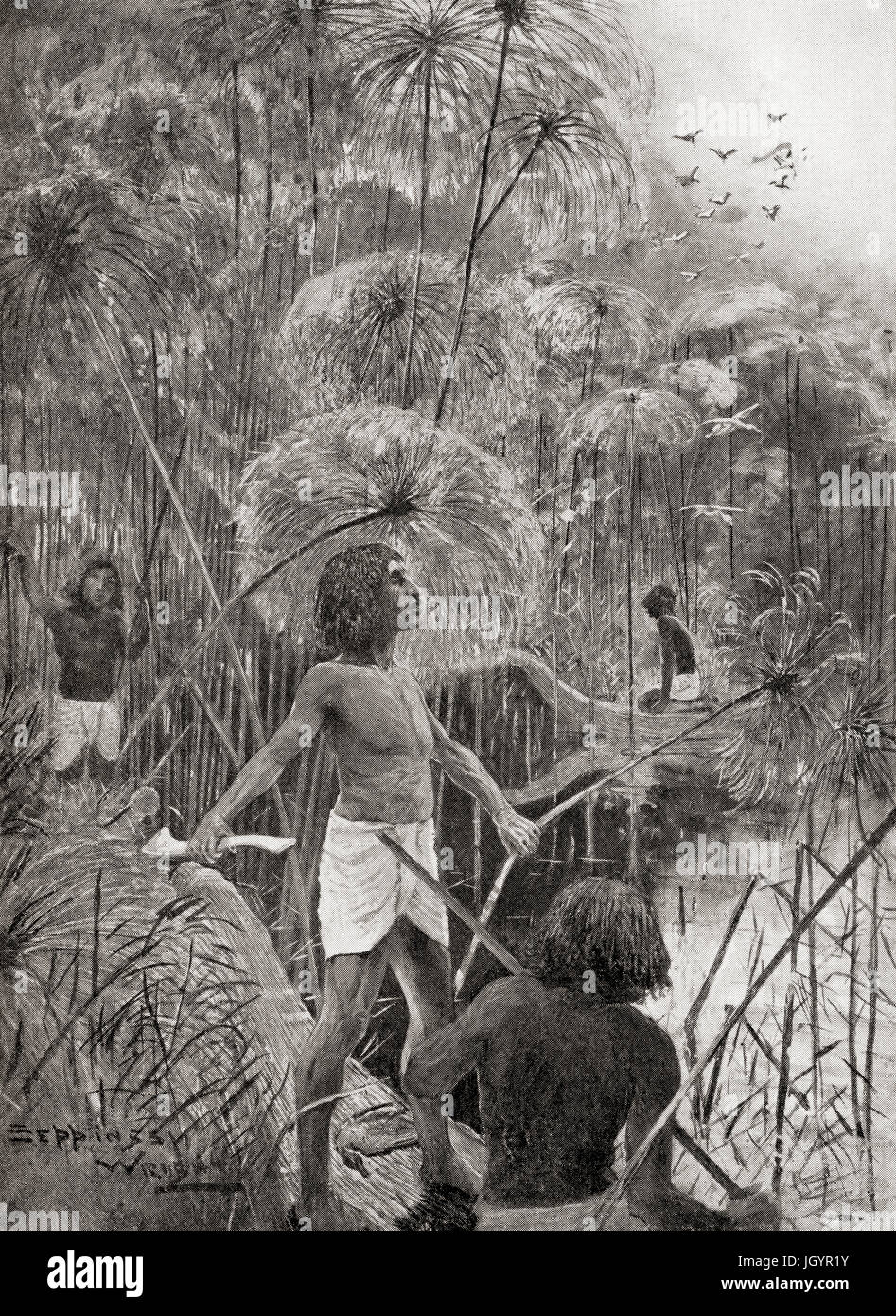 Ancient Egyptians using throw-sticks to kill wild birds in the marshes of the Nile.  From Hutchinson's History - Stock Image