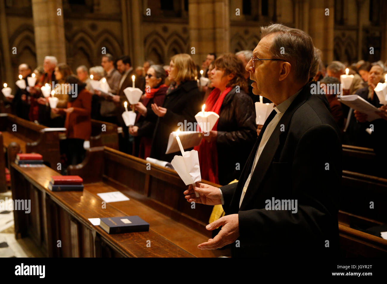 Ecumenical celebration in Holy Trinity American cathedral, Paris. France. - Stock Image