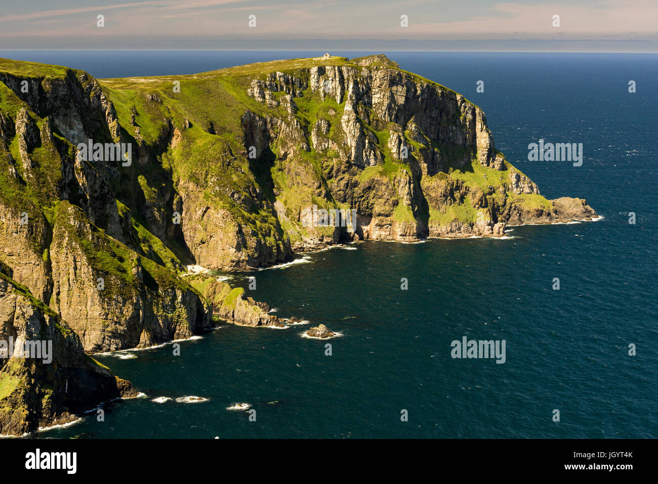 Mid-Summer sunshine over Horn Head on the causeway coastline of Donegal Ireland - Stock Image