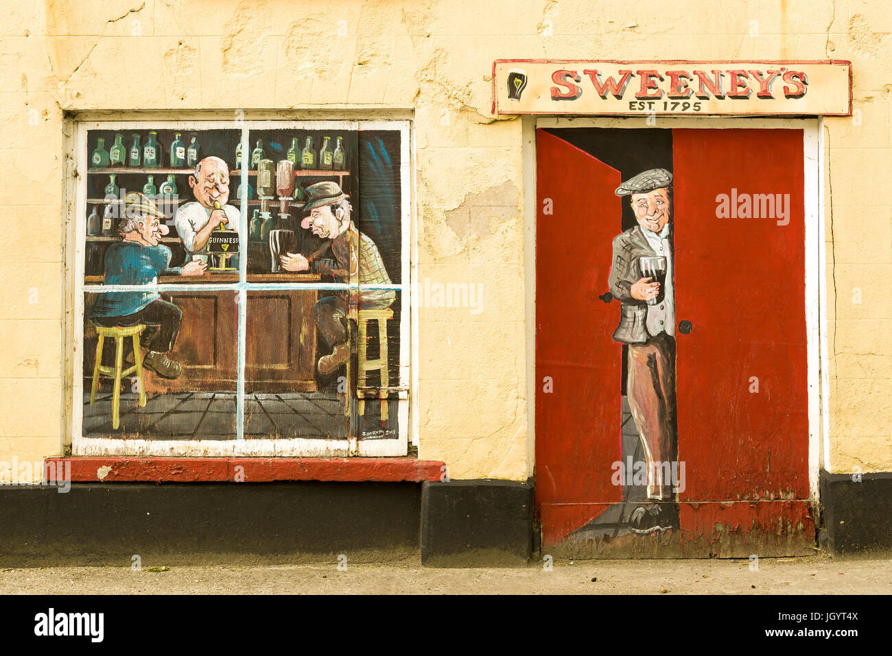 Sweeney\'s Bar old Pub wall art at Ramelton County Donegal Ireland ...