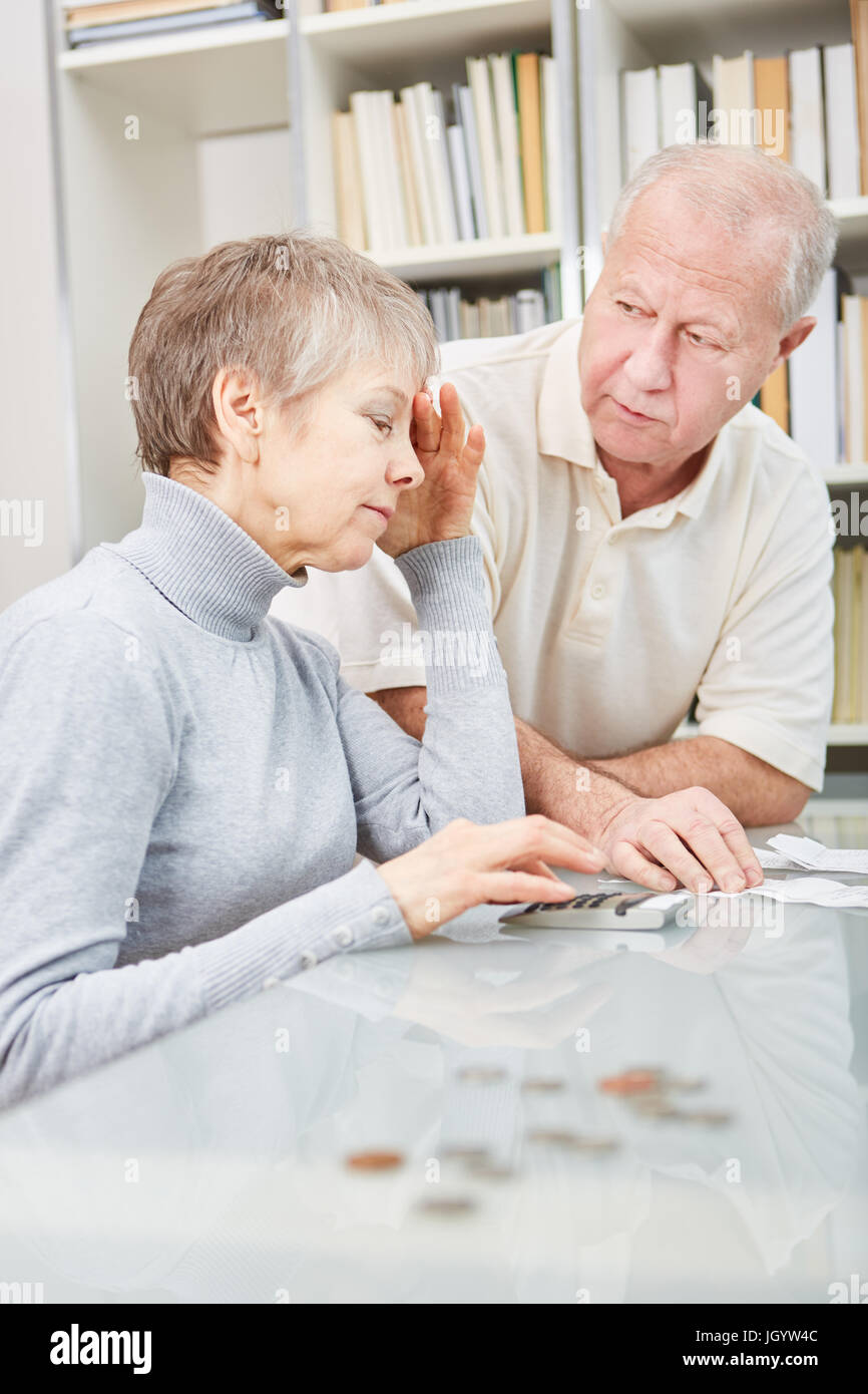 Seniors are worried about finance Expenditure - Stock Image