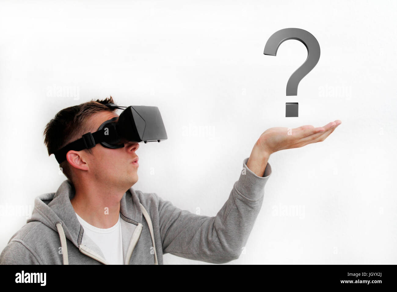 Virtual Reality and question mark - Stock Image