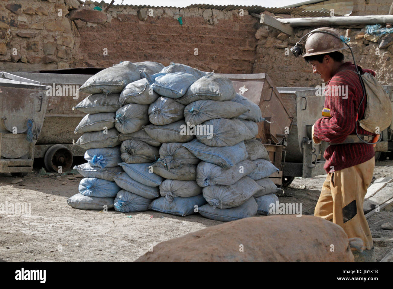 Miner starting his shift in Potosi, Bolivia - Stock Image