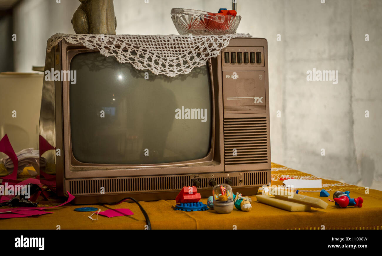 Old Black And White Phillips Tv Stock Photo 148132345 Alamy