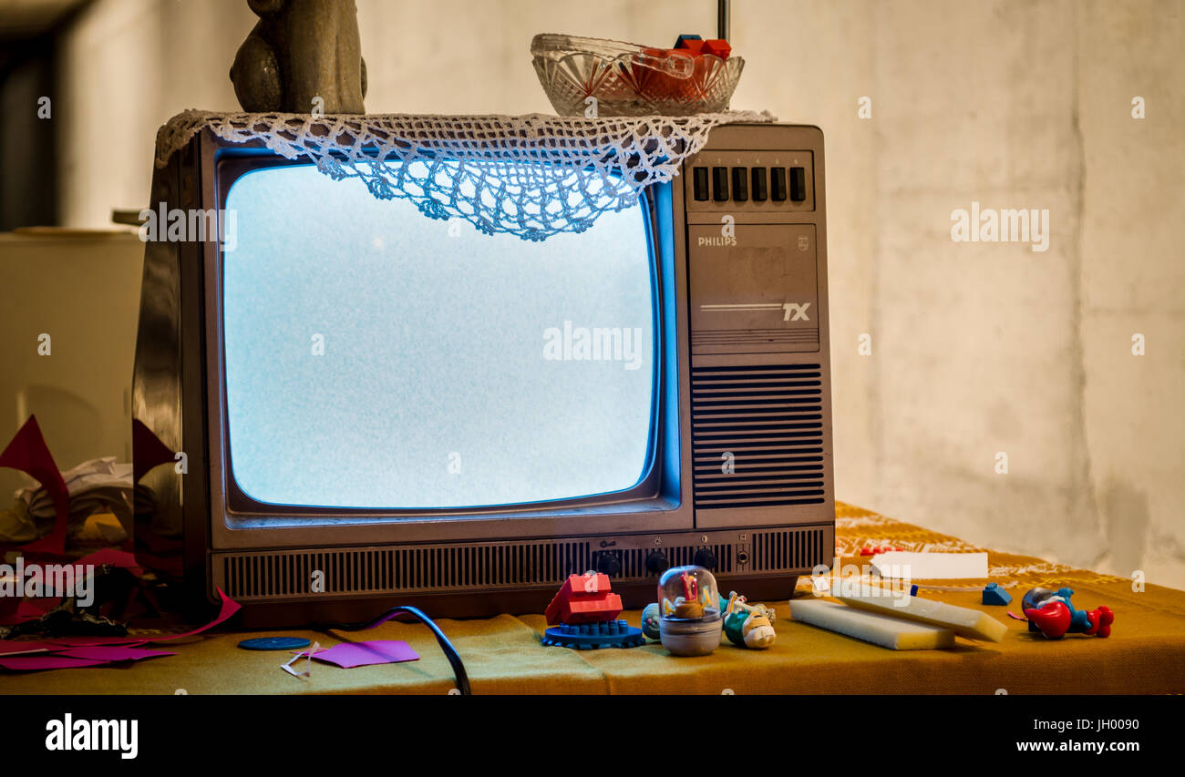 Old Black And White Phillips Tv Stock Photo 148132348 Alamy