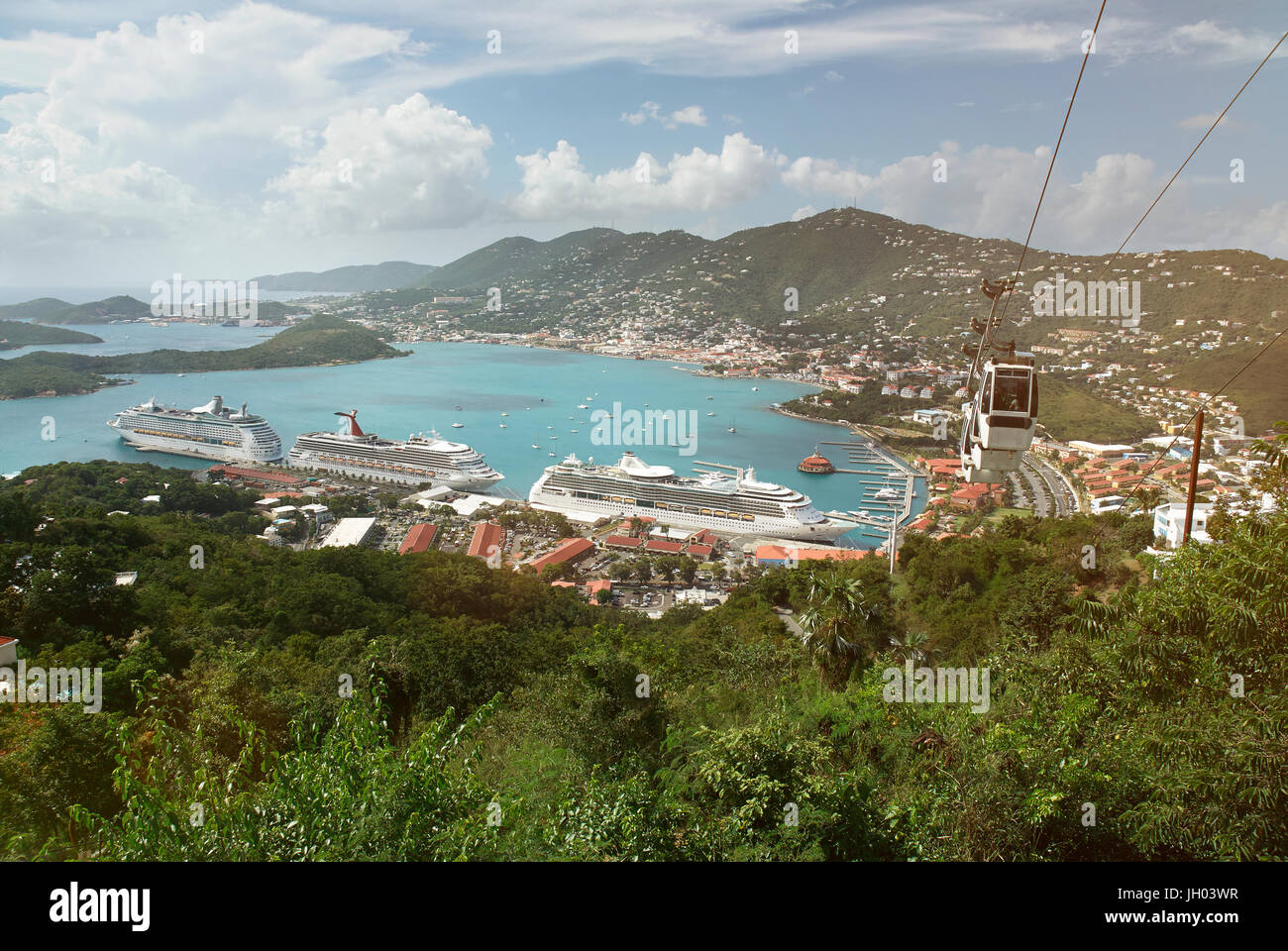 Virgin st thomas island bay panorama. Vacation in tropical island theme Stock Photo