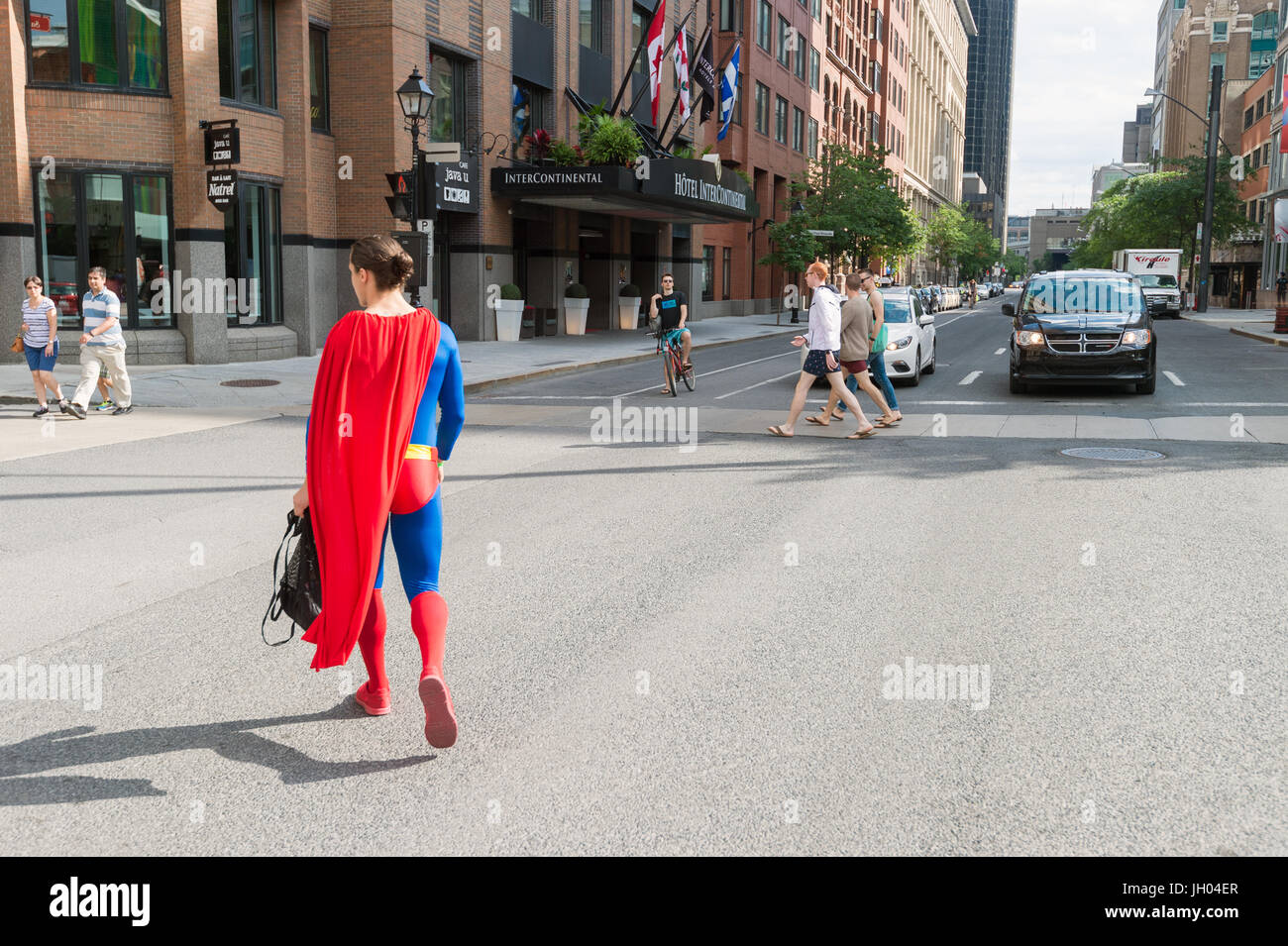Montreal, Canada - 9 July 2017: Superman is walking the streets of Montreal after ComicCon convention. - Stock Image