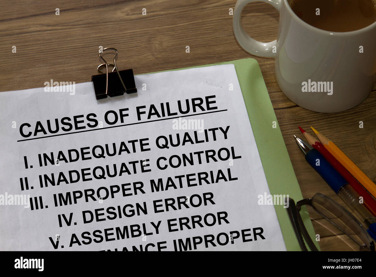 Causes of failure in a tear sheet presentation. Stock Photo
