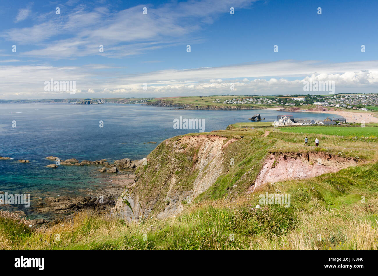 The South West Coast Path between Hope Cove and Thurlestone in the South Hams, Devon - Stock Image