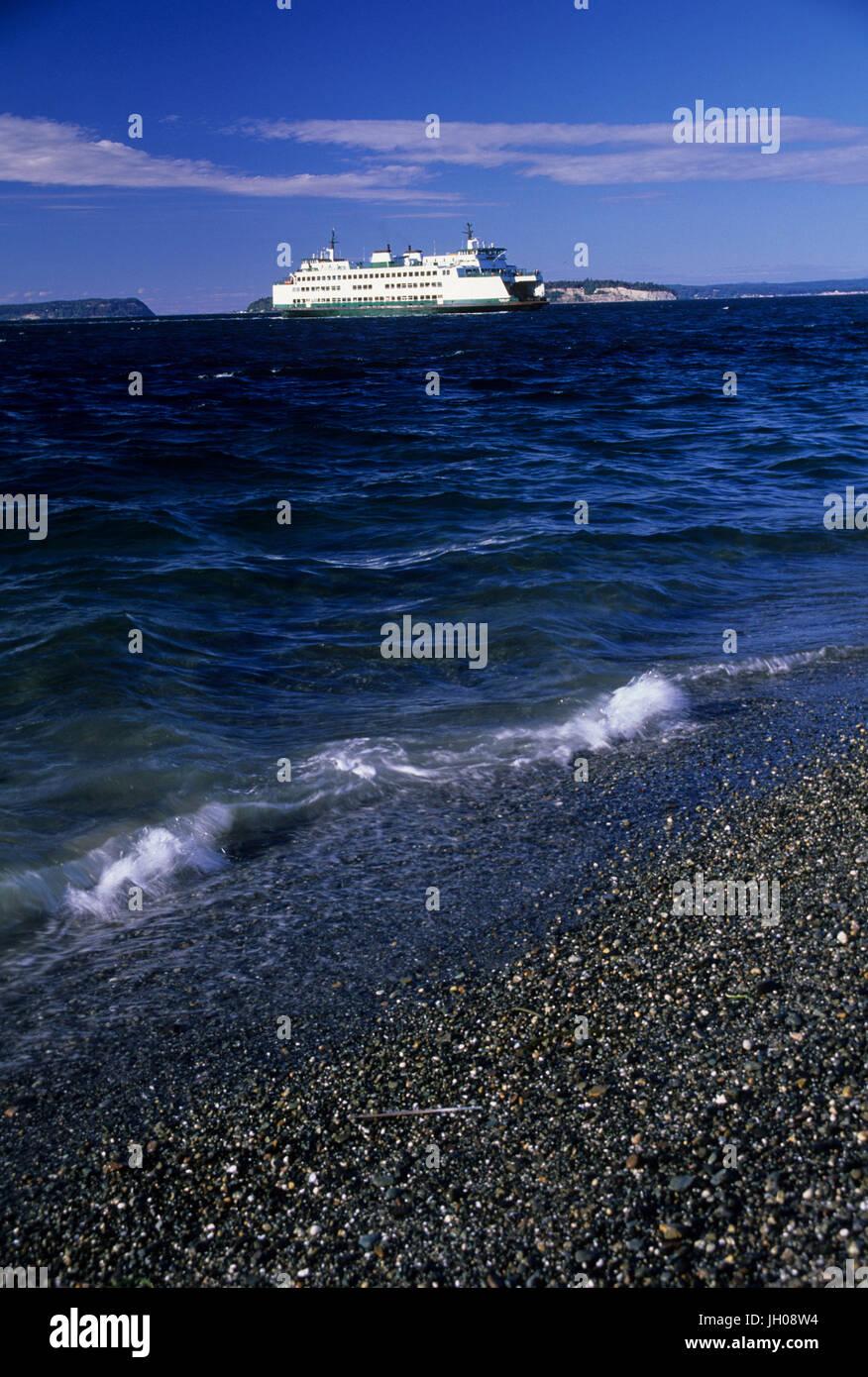 Washington State Ferry, Mukilteo Lighthouse Park, Mukilteo, Washington - Stock Image