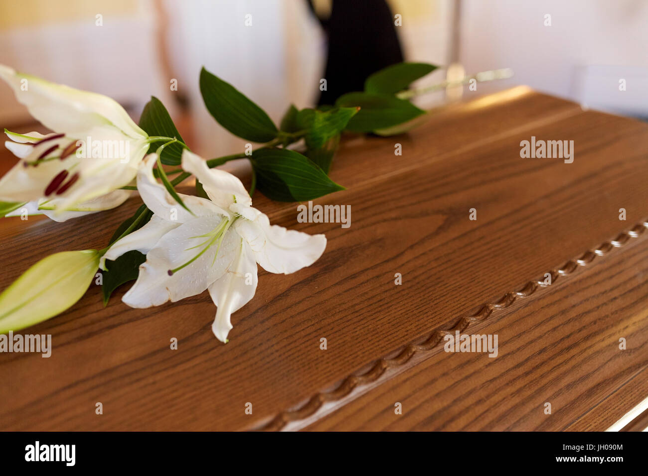 White lily death stock photos white lily death stock images page lily flower on wooden coffin at funeral in church stock image izmirmasajfo