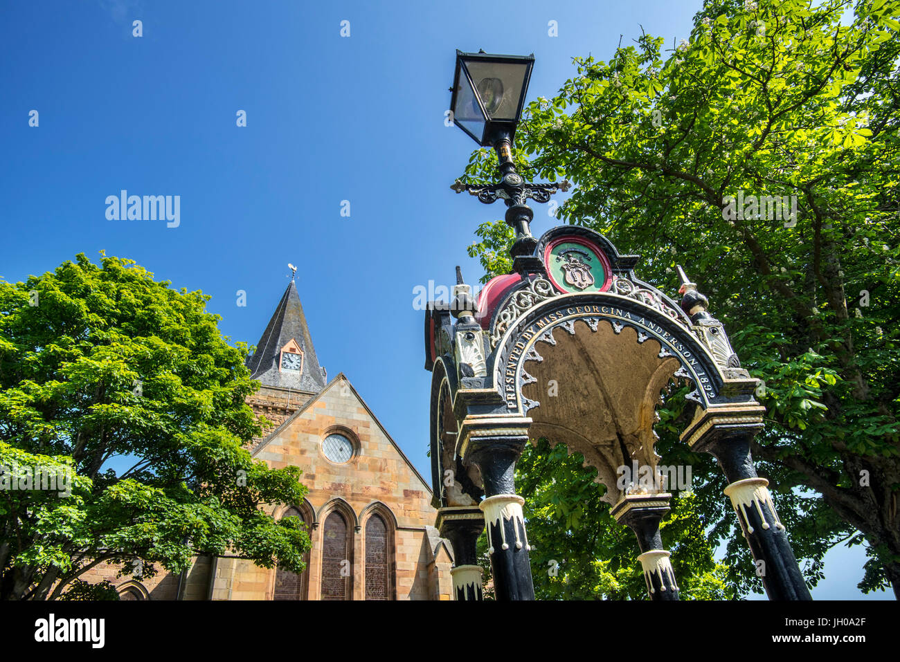 Anderson Memorial Drinking Fountain in front of the Dornoch Cathedral, parish church in the Church of Scotland, - Stock Image