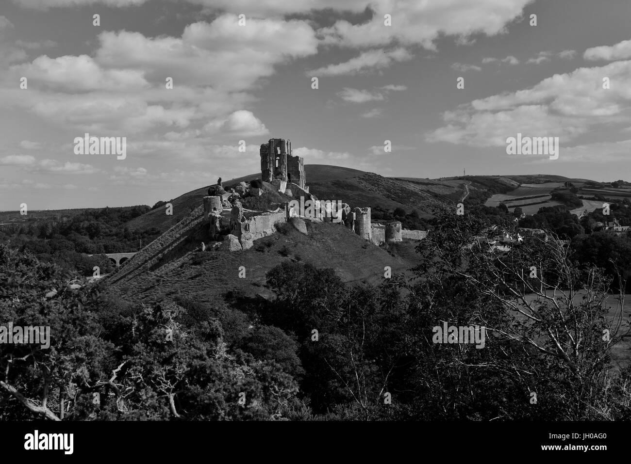 Corfe castle Dorset UK - Stock Image