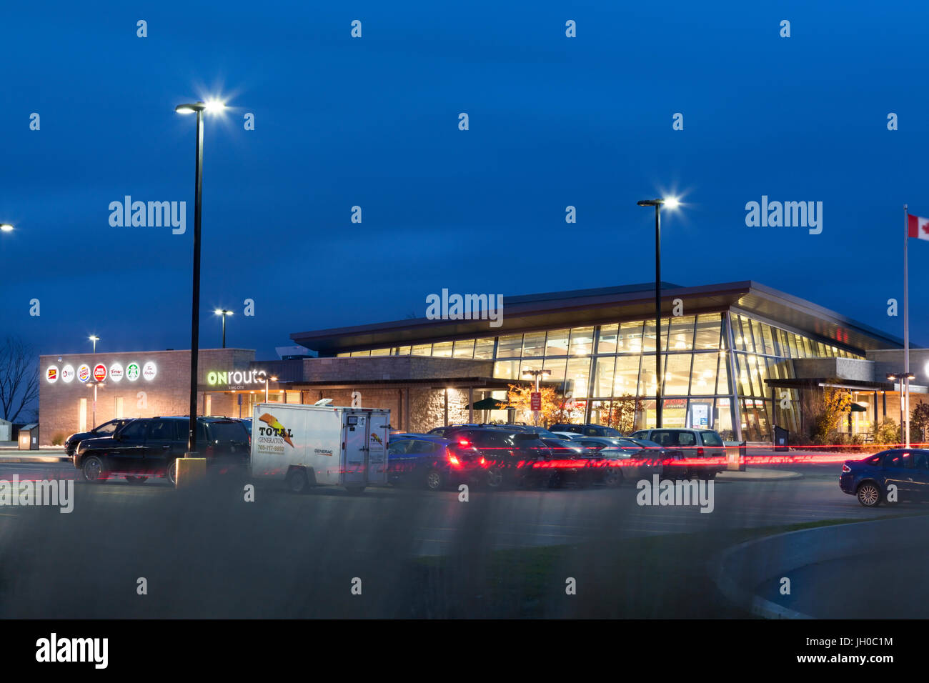 An ONroute service centre or travel plaza owned by Host Kilmer Service Centres HKSC in King City, York Region, Ontario, - Stock Image