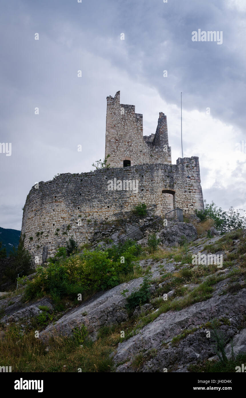 Arco Castle or Castello di Arco - a ruined castle that sits above the town of Arco in the Sarca Valley in Trentino, Stock Photo
