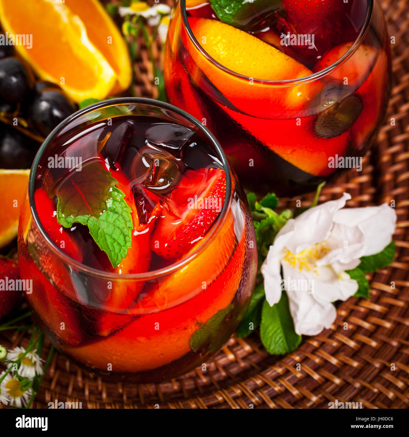 Red Wine Sangria Summer Drinks Stock Photo