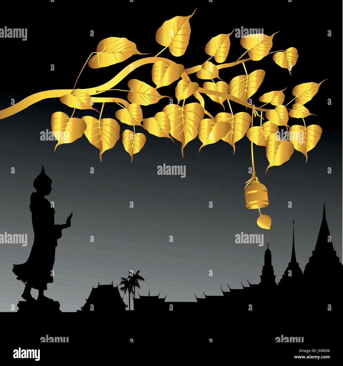 Buddha statue and Gold Bodhi tree with Golden bell of thai tradition, Visakha Puja Day, vector illustration. - Stock Vector