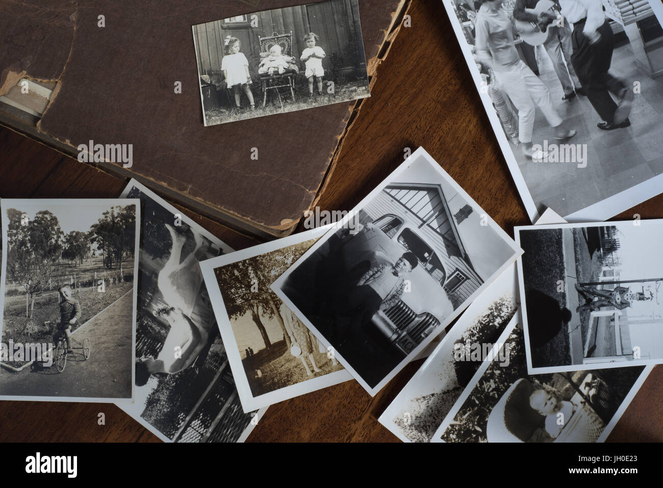 Old Family Photos And Photo Album With Black And White Images Retro