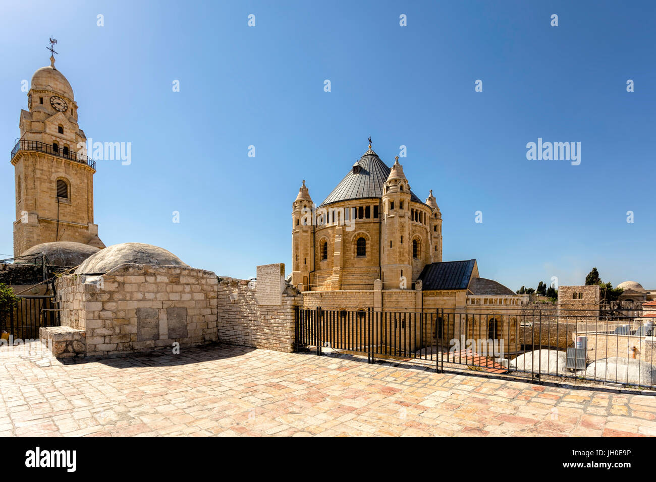 Dormition Abbey, viewed from the terrace of King David's Tomb, in the Armenian Quarter of Jerusalem, Israel. - Stock Image