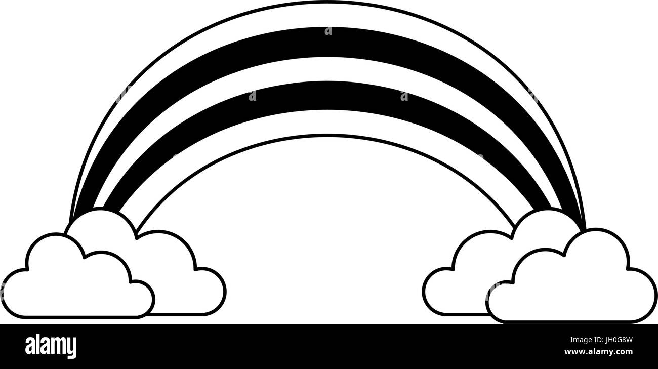 rainbow with clouds icon image  - Stock Image
