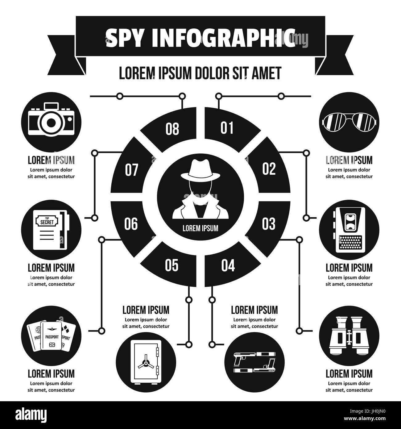 Spy infographic concept, simple style - Stock Image