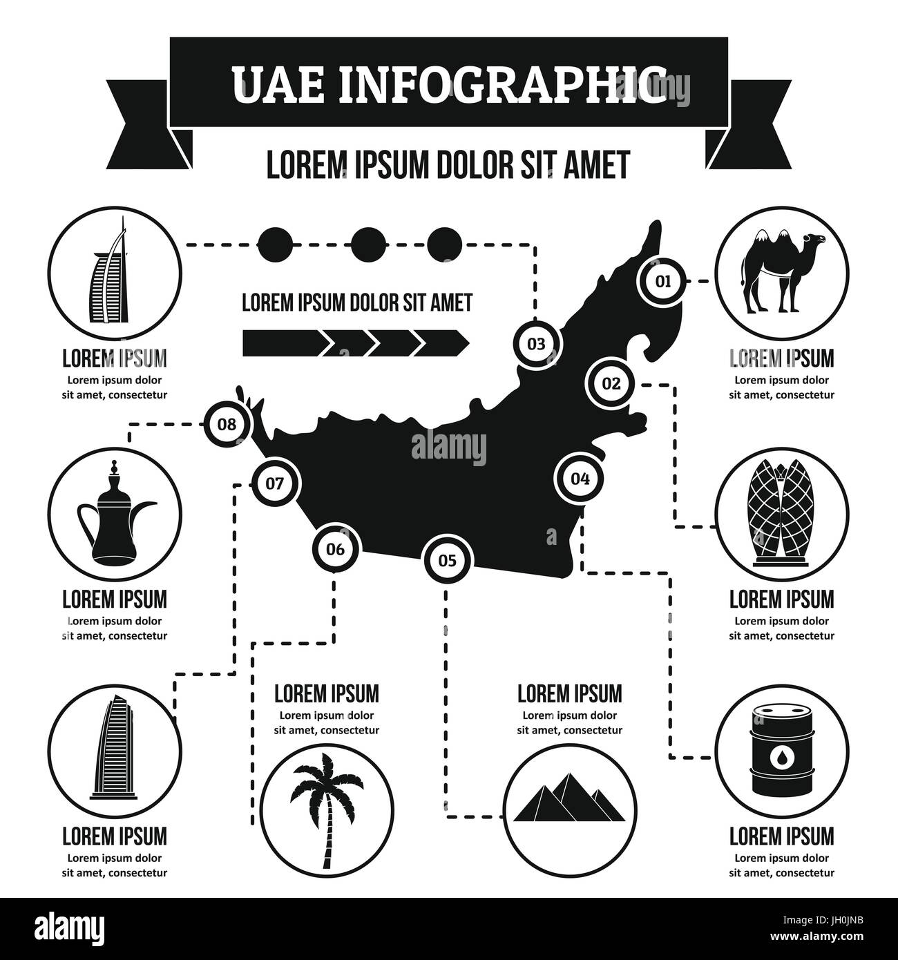 UAE infographic concept, simple style - Stock Image
