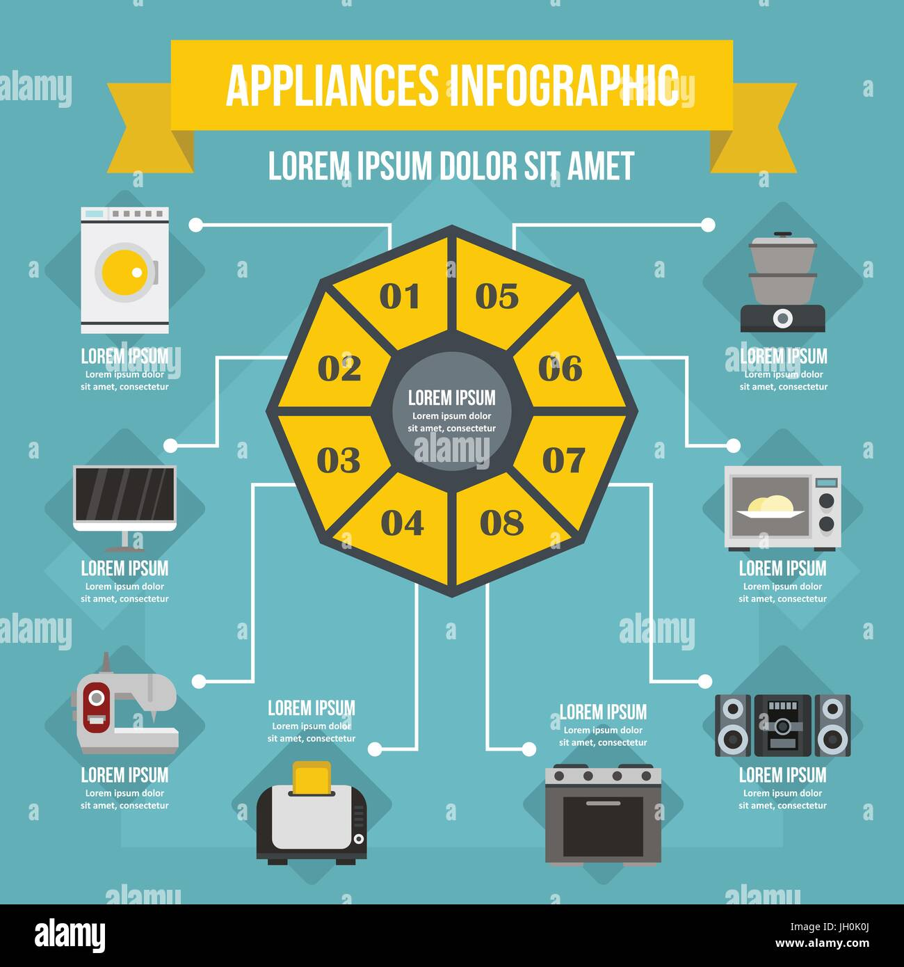 Appliances infographic concept, flat style - Stock Image