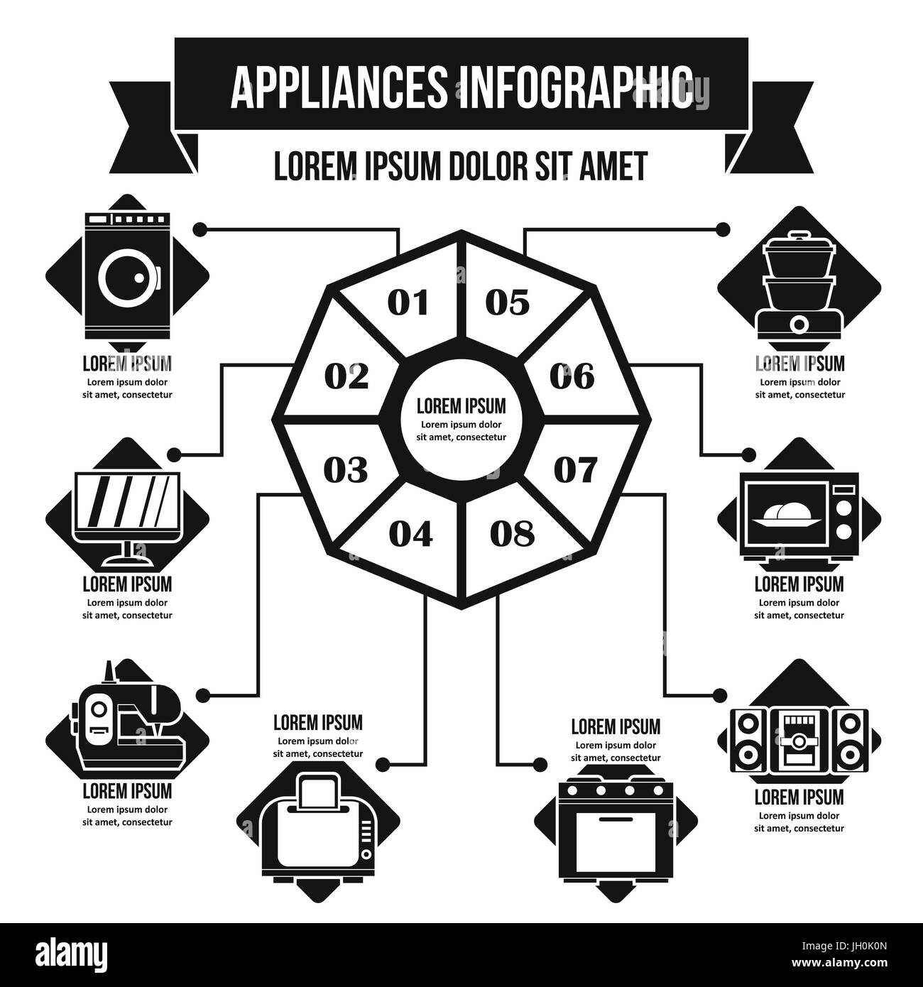 Appliances infographic concept, simple style - Stock Image