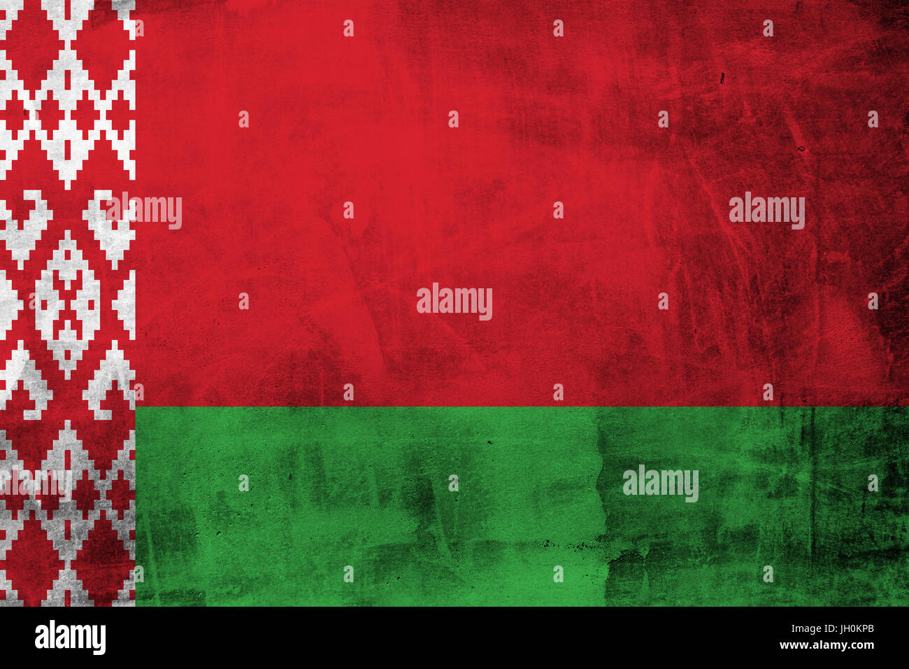 Grunge Belarus Flag on the concrete wall Stock Photo