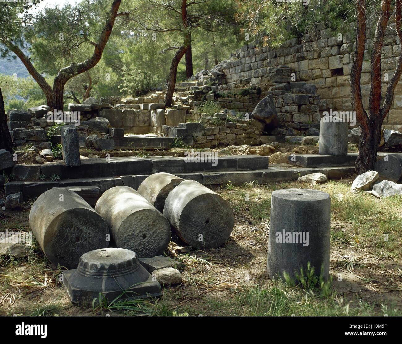 Turkey. Priene. Ancient Greek city of Ionia. Sanctuary dedicated to Demeter. Ruins. Anatolia. - Stock Image