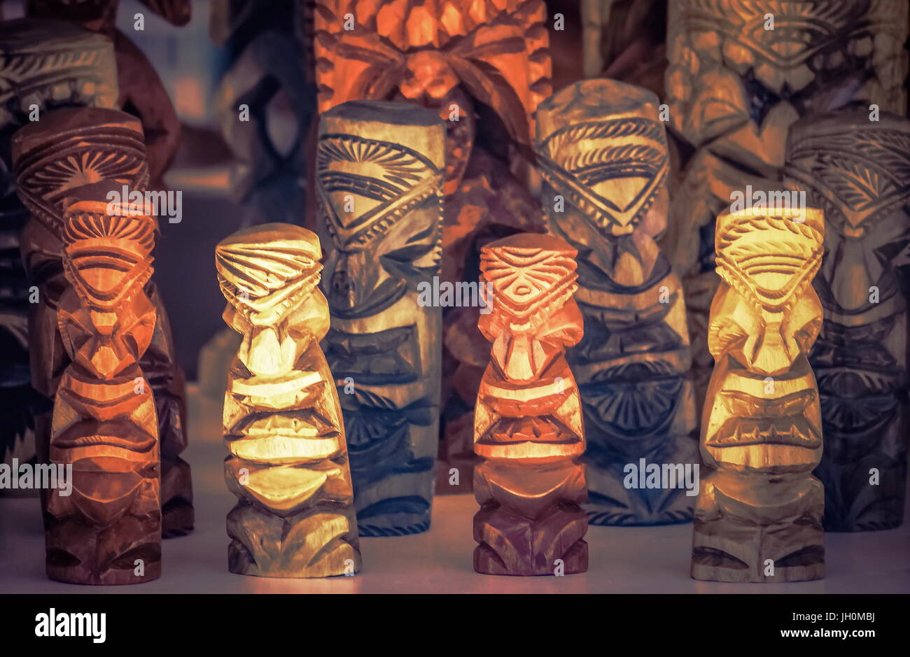 Hawaiian Wood Carvings - Stock Image