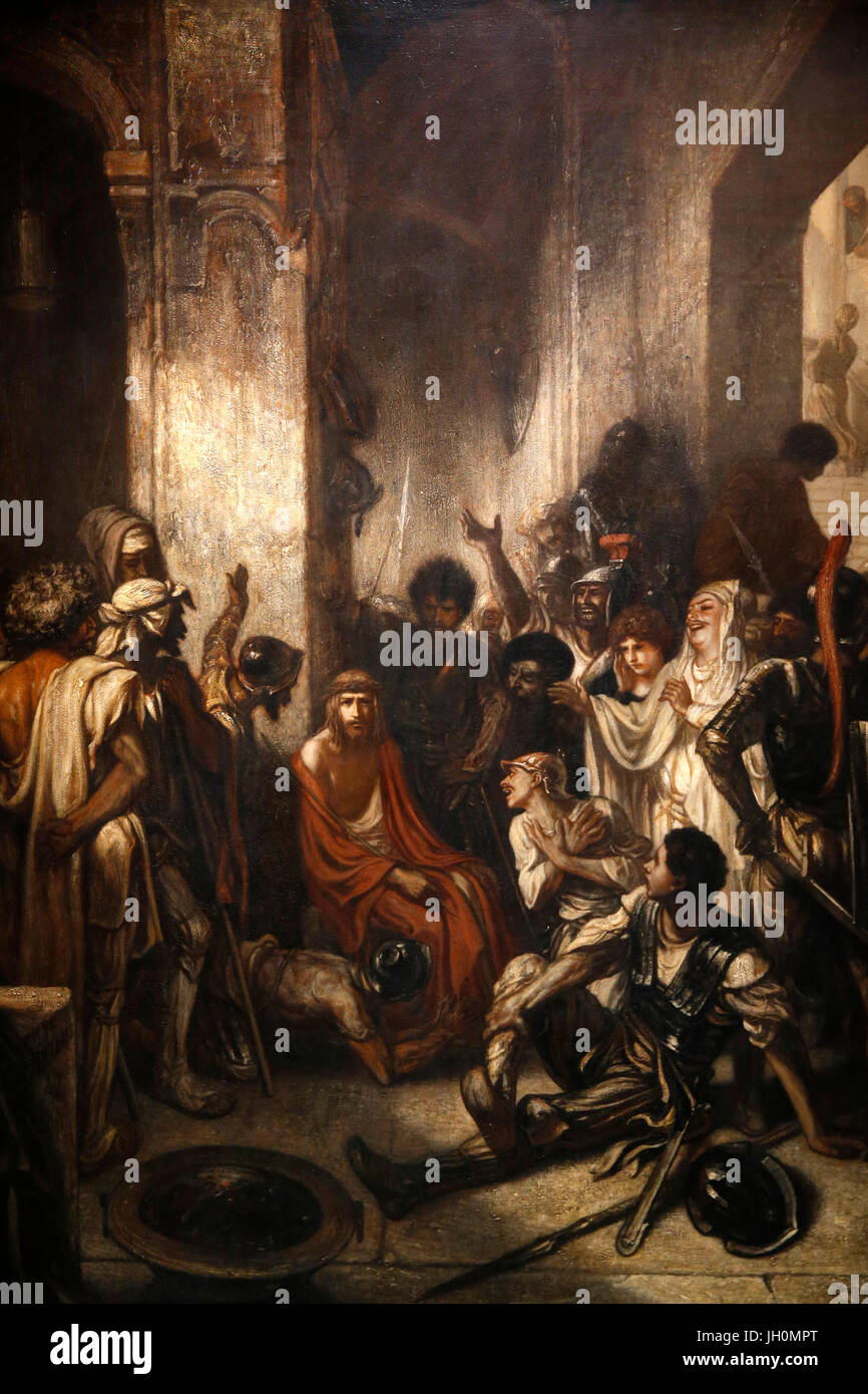 Orsay Museum. Alexandre Gabriel Decamps. Jesus Christ in the courtroom. Oil on canvas. 1847. - Stock Image