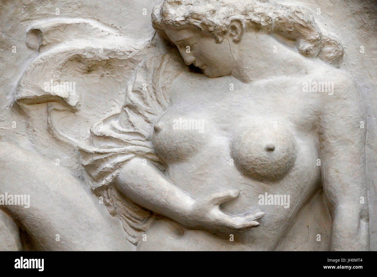 Orsay museum. Aristide Maillol. Bather, also known as the Wave. Plaster relief, c. 1902. Paris. France. - Stock Image