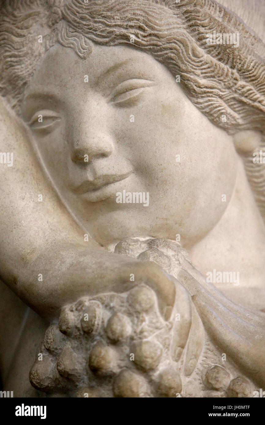 Orsay museum. Joseph Bernard. Tall bacchae (detail). Stone. 1912. Paris. France. Stock Photo
