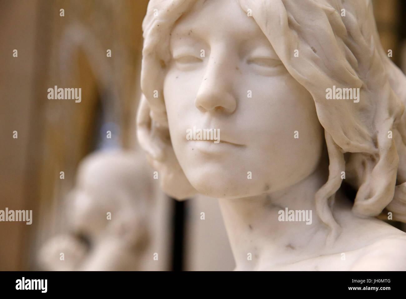 Orsay museum. Alfred Charles Lenoir. Saint John the Baptist. Marble. 1883. Paris. France. - Stock Image