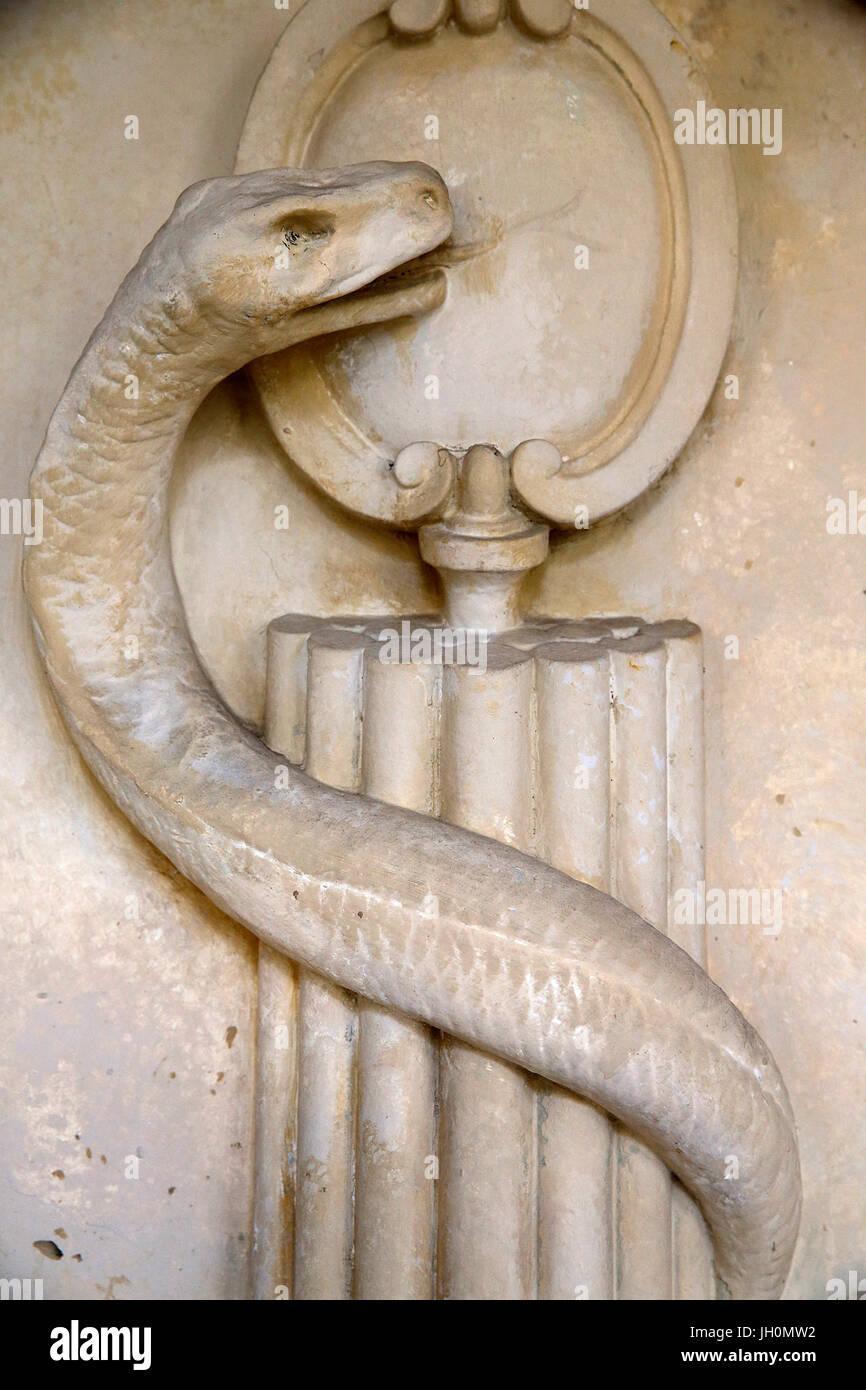 Val de Grace army museum. Caduceus (detail). France. - Stock Image