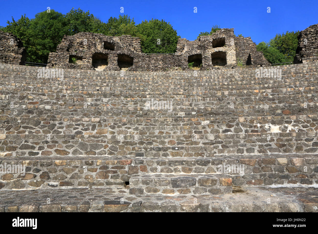 Paving of the reconstituted orchestra. Odeon. The ancient theater of Lugdunum. Ancient Theatre of Fourvire. Lyon. - Stock Image